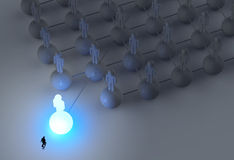 Businessman walking 3d light growing human. Social network and leadership as concept Royalty Free Stock Photo