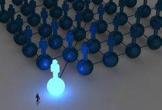 Businessman walking 3d light growing human. Social network and leadership as concept Royalty Free Stock Images