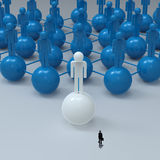 Businessman walking 3d white. Human social network and leadership as concept Royalty Free Stock Image