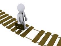 Businessman walking on damaged bridge Royalty Free Stock Image