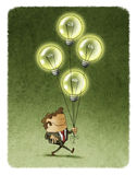 Businessman walking with four flying illuminated bulbs. Illustration of smiling businessman with eyes closed walking with four flying illuminated bulbs Stock Images