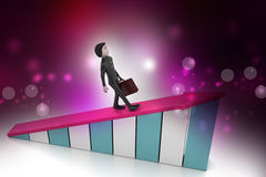 Businessman walking on growing arrow Stock Image