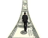 Businessman walking on growing money way in white background Royalty Free Stock Photos