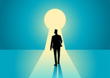 Businessman walking into keyhole. Business concept illustration of a businessman walking into keyhole with bright light Stock Images