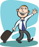 Businessman walking with luggage with wheels Stock Photos