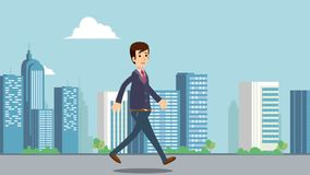 Businessman walking on main street with cityscape background animation video.Business man walk in city HD video