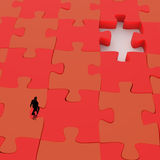 Businessman walking in Missing 3d puzzle piece. As concept Stock Illustration