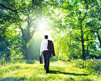 Businessman Walking Outdoors Stock Photos
