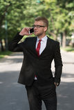 Businessman Walking Outside In Park While Using Mobilephone Stock Image