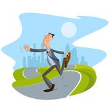 Businessman walking on road. Happy businessman walking on road with cityscape backdrop Royalty Free Stock Photos