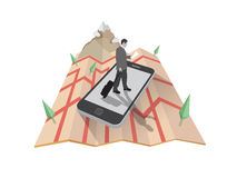 Businessman walking on smartphone on map Royalty Free Stock Photos