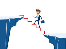 Businessman walking on stair to cross through the gap between hill. Stair step to success. Business risk and success concept. Cartoon Vector Illustration Stock Photography