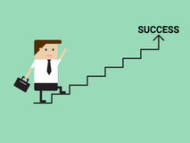 Businessman walking on stairs to success. Royalty Free Stock Photos