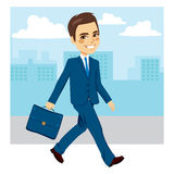 Businessman Walking Street. Young businessman walking happy with street background stock illustration