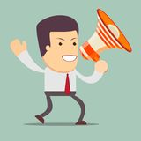 Businessman walking and talking into a megaphone . Royalty Free Stock Images