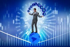 The businessman walking tight rop in challenge concept. Businessman walking tight rop in challenge concept Royalty Free Stock Image