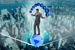 The businessman walking tight rop in challenge concept Stock Images