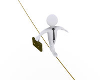 Businessman is walking on tightrope. 3d businessman is walking on tightrope Royalty Free Stock Photos