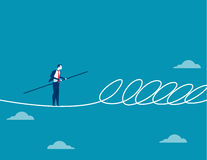 Businessman walking a tightrope and barrier. Concept business illustration. Vector flat Royalty Free Stock Image