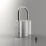 Businessman walking to 3d metal padlock. As security concept Royalty Free Stock Photos