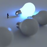 Businessman walking to growing  lightbulb 3d. Idea diagram as success concept Royalty Free Stock Images