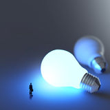 Businessman walking to growing  lightbulb. 3d idea diagram as success concept Royalty Free Stock Photography