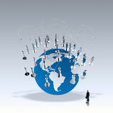 Businessman walking to social network human. 3d on world globe as concept Stock Photos