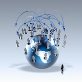 Businessman walking to social network. Human 3d on world globe as concept Stock Photos
