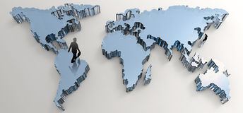 Businessman walking to social network. Human 3d on world map as concept Royalty Free Stock Photo