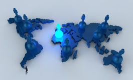 Businessman walking to social network human. 3d on world map as concept Royalty Free Stock Photos