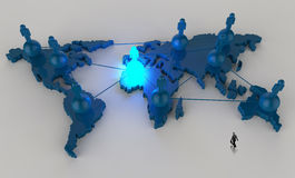 Businessman walking to social network. Human 3d on world map as concept Stock Image
