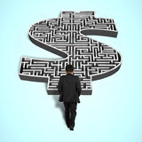 Businessman walking toward money shape maze. Businessman walking toward 3d money shape maze Royalty Free Stock Photos