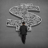 Businessman walking toward to 3d money shape maze. Businessman walking toward 3d money shape maze on concrete ground Royalty Free Stock Photo