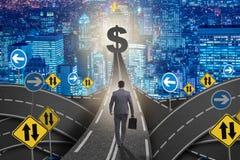 The businessman walking towards his profit target Stock Photography