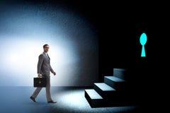 The businessman walking towards keyhole in challenge concept. Businessman walking towards keyhole in challenge concept Stock Images