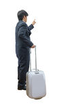 Businessman walking with trolley and bag Stock Photos