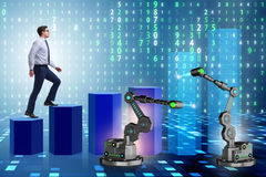 The businessman walking up the chart supported by robotic arm Stock Photos