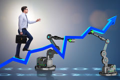 The businessman walking up the chart supported by robotic arm Royalty Free Stock Image