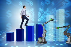 The businessman walking up the chart supported by robotic arm Stock Image