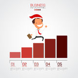 Businessman walking up on graph for christmas. Stock Photography