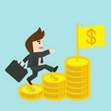 Businessman is walking up the stair of money Stock Photography