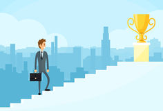 Businessman Walking Up Stairs, Concept Business Royalty Free Stock Image