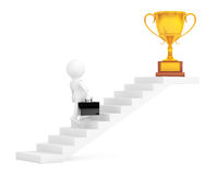 Businessman Walking Up Stairs to Trophy Win Price. 3d Rendering. Businessman Walking Up Stairs to Trophy Win Price on a white background. 3d Rendering Royalty Free Stock Photos