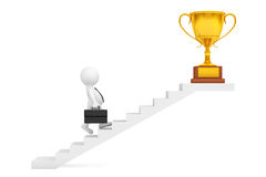 Businessman Walking Up Stairs to Trophy Win Price. 3d Rendering. Businessman Walking Up Stairs to Trophy Win Price on a white background. 3d Rendering Royalty Free Stock Image