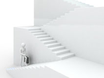 Businessman walking upstairs. Success 3d concept Stock Image