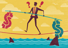 Businessman walks the Financial Tightrope. Royalty Free Stock Image
