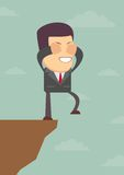 Businessman walks off a cliff. Vector illustration Stock Photography