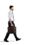 Businessman walks on white background stock photos