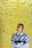 Businessman And Wall Covered In Sticky Notes. Middle aged businessman standing in front of wall covered in sticky notes Royalty Free Stock Photography