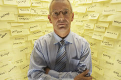 Businessman By Wall Covered In Sticky Notes Royalty Free Stock Photo